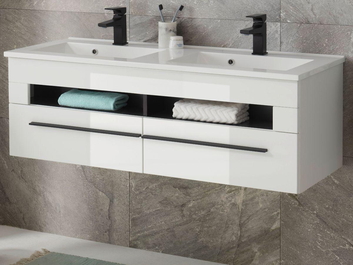 Doppelwaschtisch hängend mit Waschbecken Design-D in Hochglanz weiss 120 cm