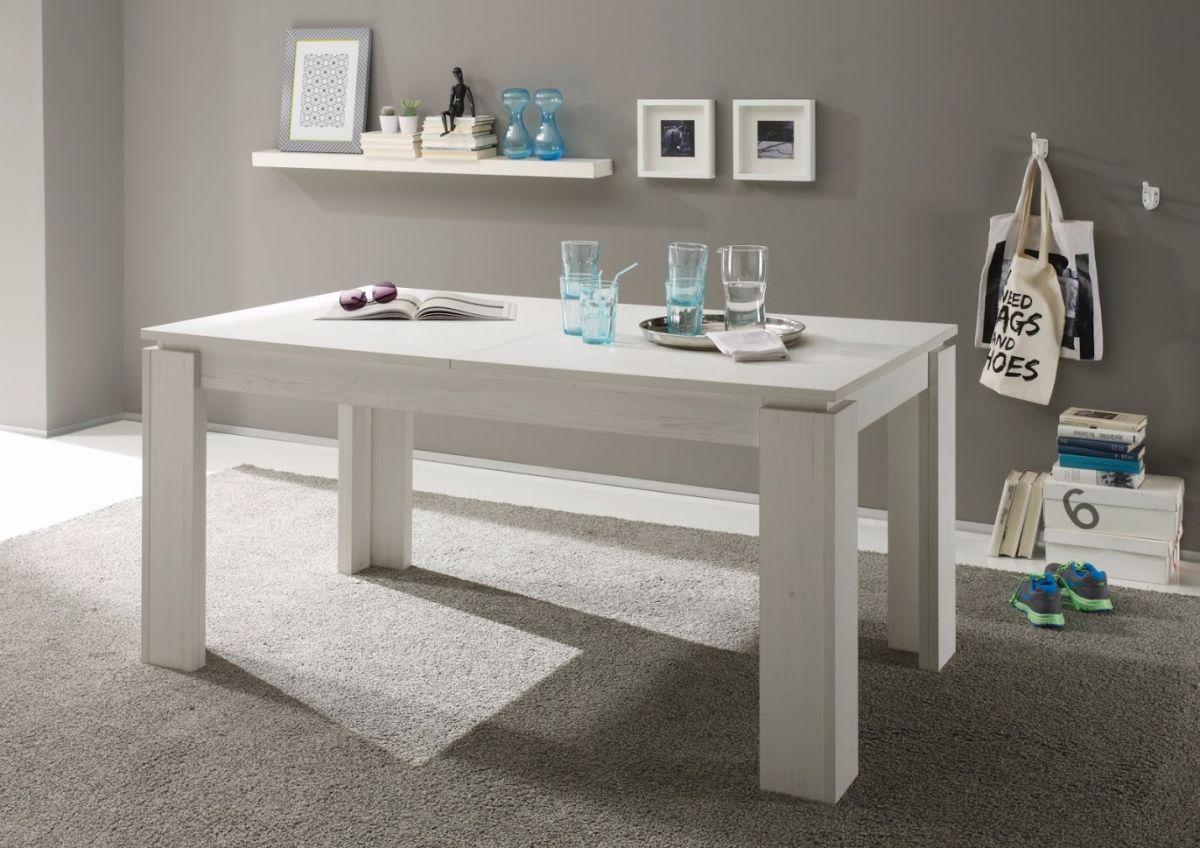 Esstisch Anderson Pinie weiss ausziehbar mit Einlegeplatte Holztisch Universal 160 - 200 cm