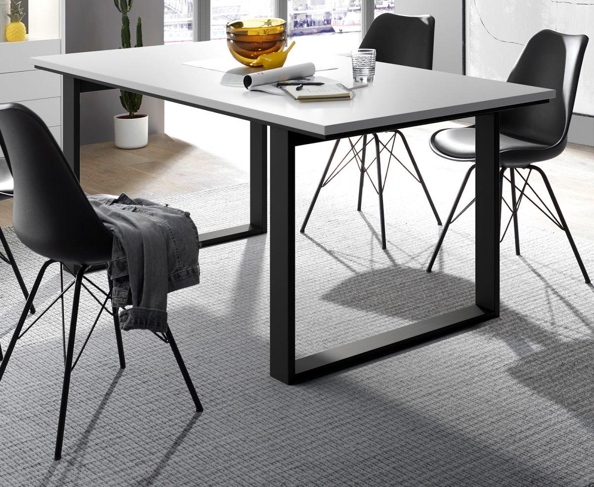 Esstisch Design-M in weiss matt und schwarz 160 x 80 cm