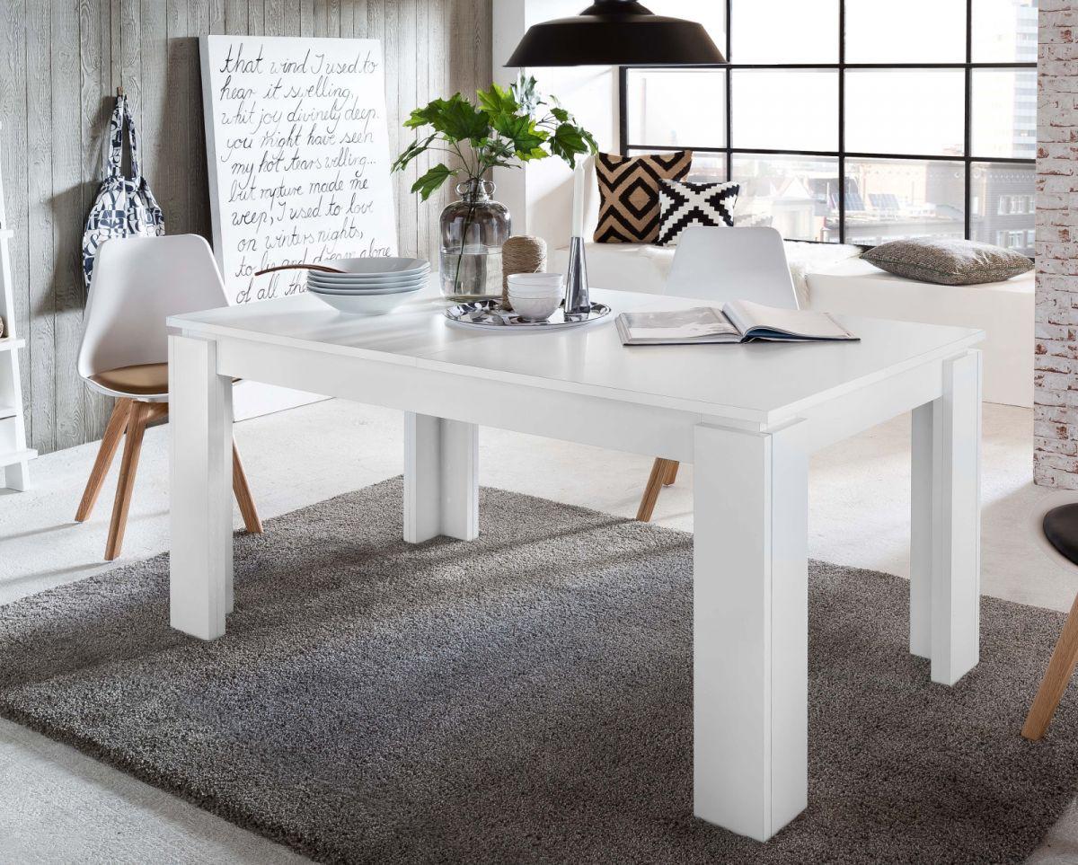Esstisch in weiss- Küchentisch ausziehbar inkl- Einlegeplatte im Untergestell 160 - 200 cm