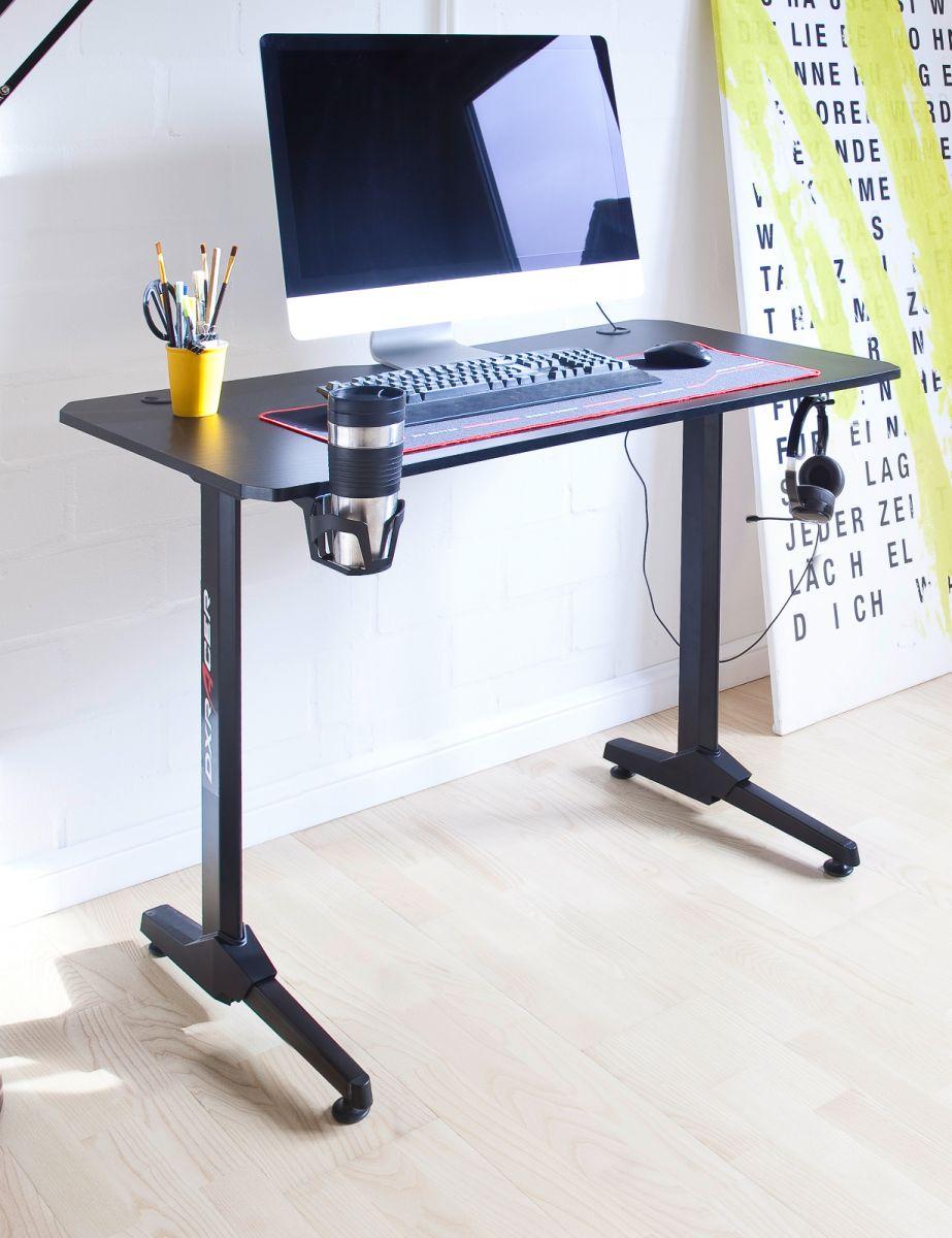 Gamingtisch DX-Racer in schwarz Schreibtisch 111 cm