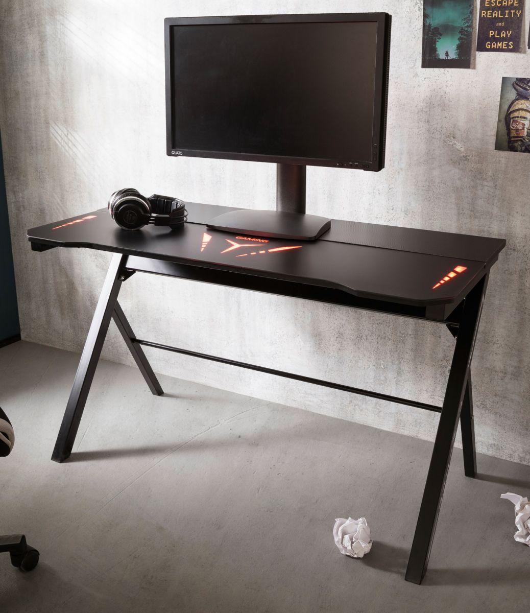 Gamingtisch mcRacing in schwarz mit LED Farbwechsel 120 cm