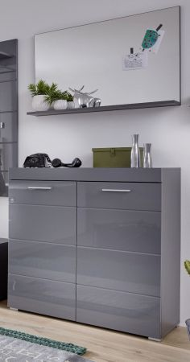 Garderobe Amanda Hochglanz grau Set 2-teilig Schuhkommode und Spiegel 91 x 195 cm