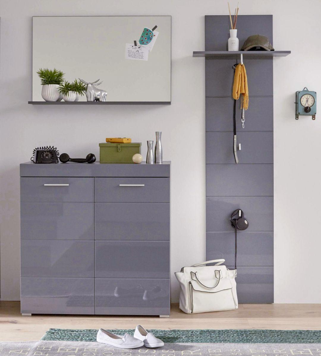 Garderobe Amanda Hochglanz grau Set 3-teilig 161 cm