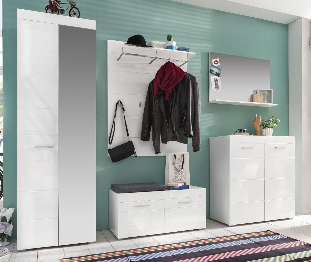 Garderobe Amanda komplett Set 5-teilig weiss Hochglanz mit Schuhbank 260 cm