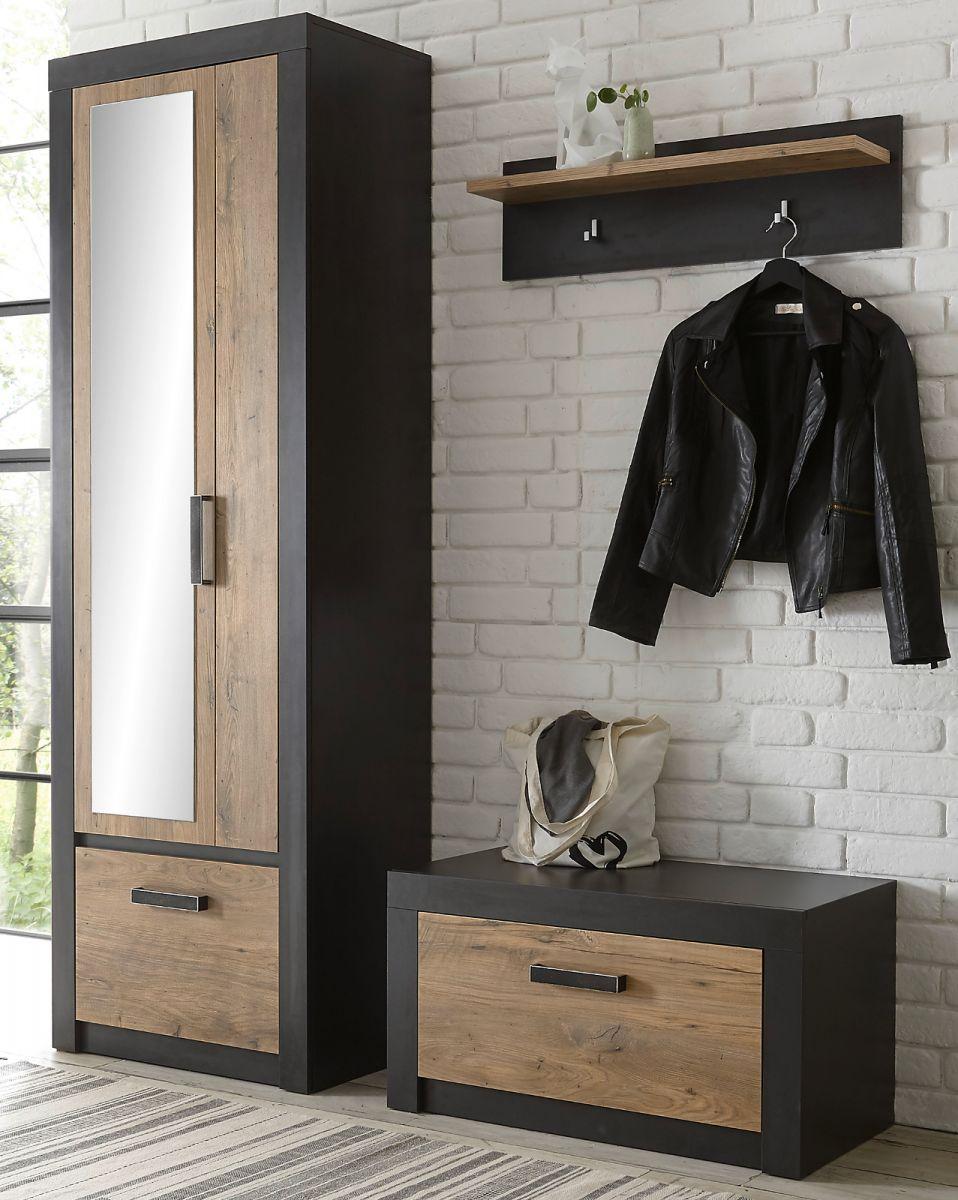 Garderobe Beveren in Kastanie und Fresco grau Set 3-teilig 165 x 200 cm