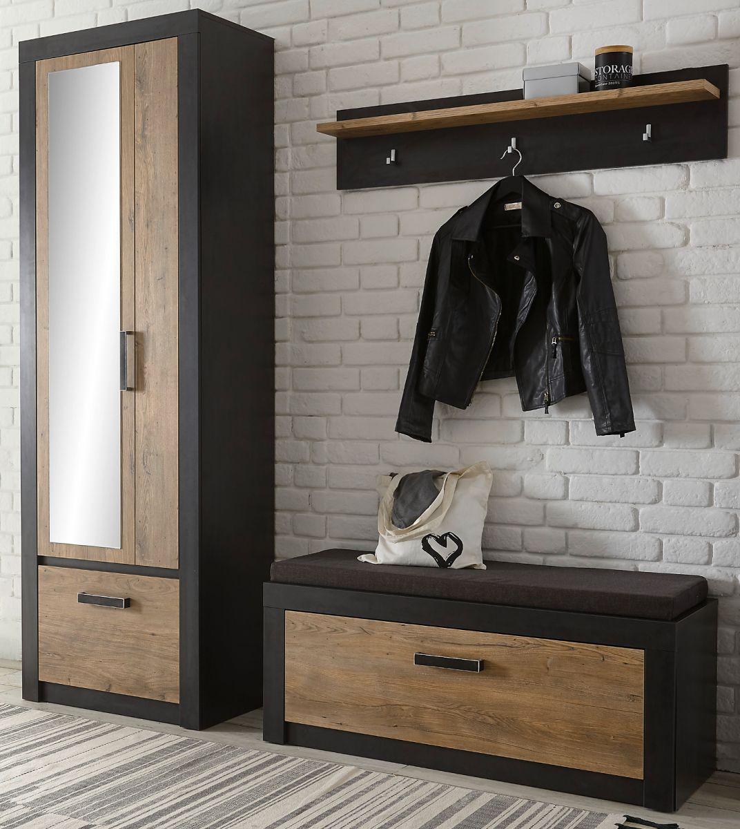 Garderobe Beveren in Kastanie und Fresco grau Set 4-teilig 192 x 200 cm