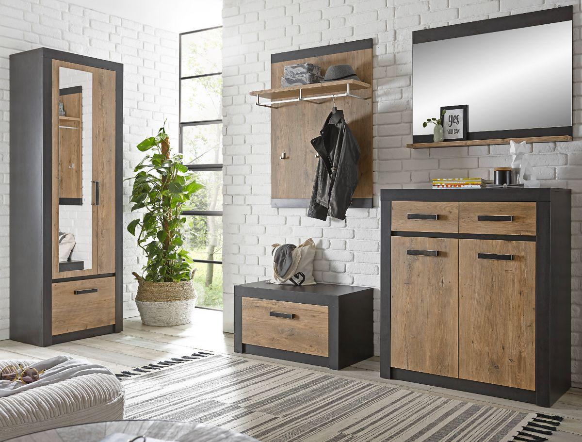 Garderobe Beveren in Kastanie und Fresco grau Set 5-teilig 277 x 200 cm
