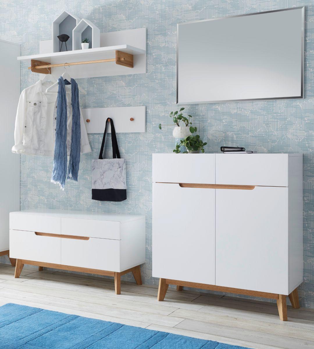 Garderobe Cervo matt weiss Lack und Asteiche Set 5-teilig 197 cm