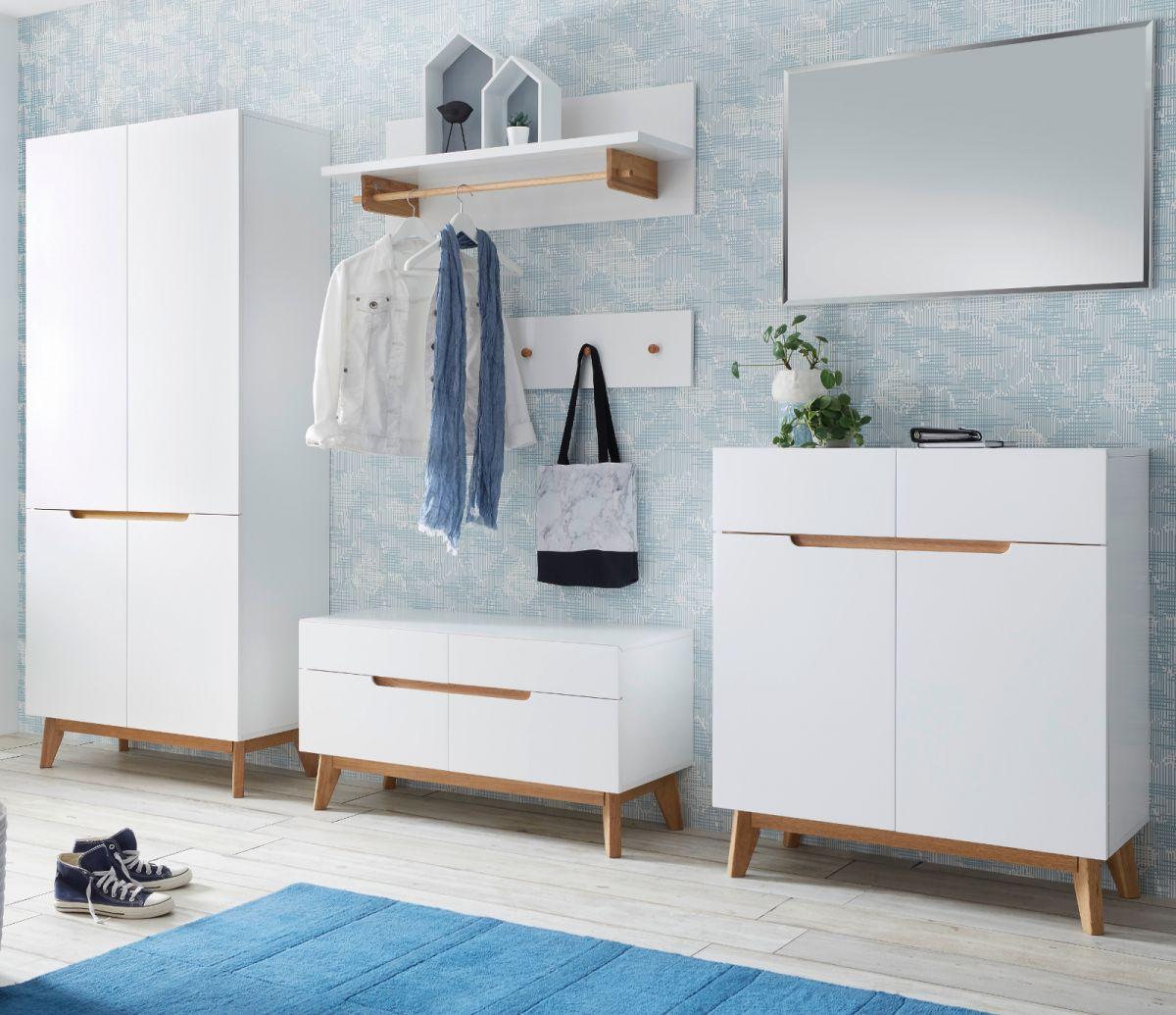 Garderobe Cervo matt weiss Lack und Asteiche Set 6-teilig 297 cm