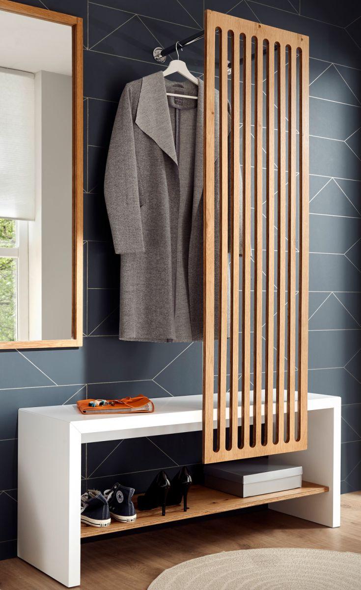 Garderobe Funchal weiss und Eiche 120 x 192 cm