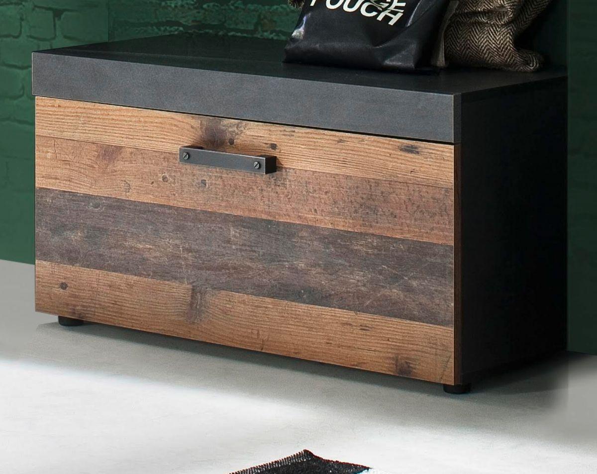 Garderobe Indy Sitzbank Used Wood Shabby und Matera grau 80 cm