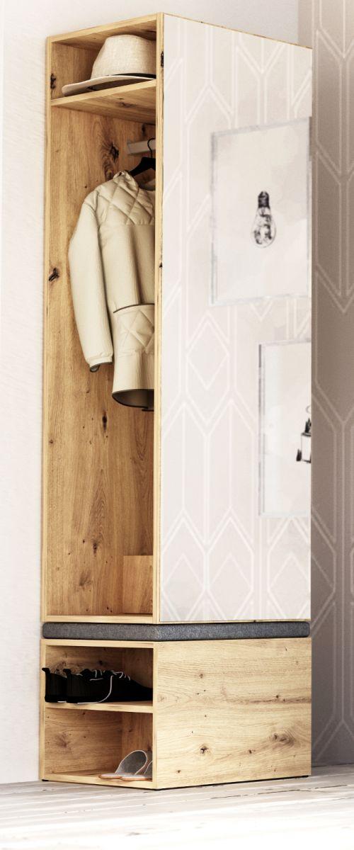 Garderobe Set 2-teilig Brighty in Artisan Eiche 50 x 190 cm