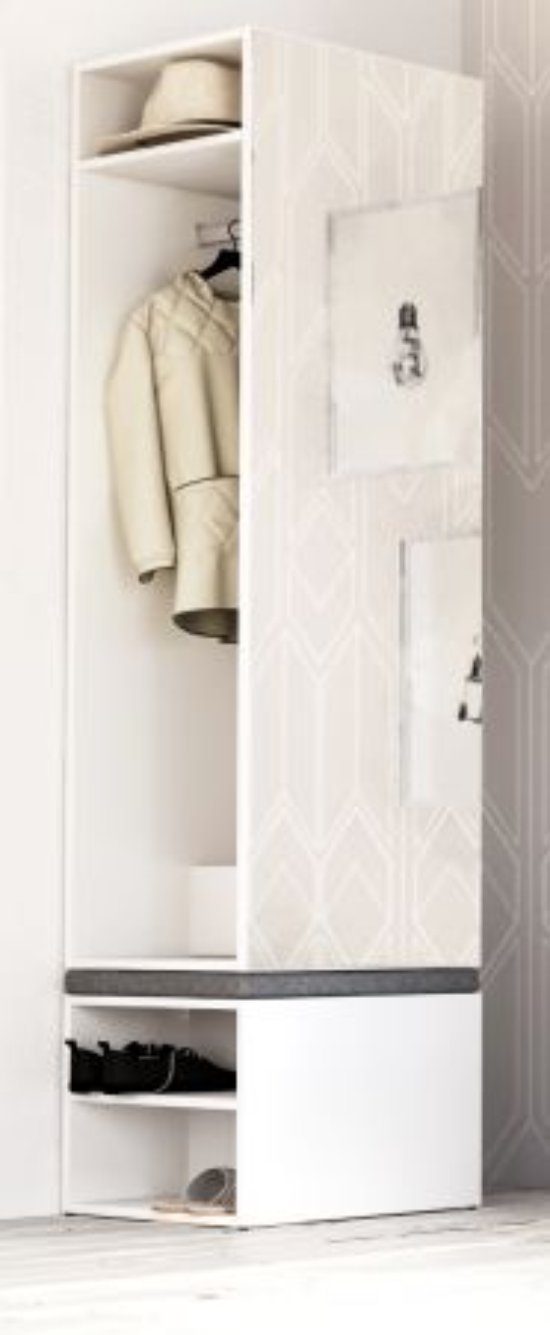 Garderobe Set 2-teilig Brighty in weiss 50 x 190 cm