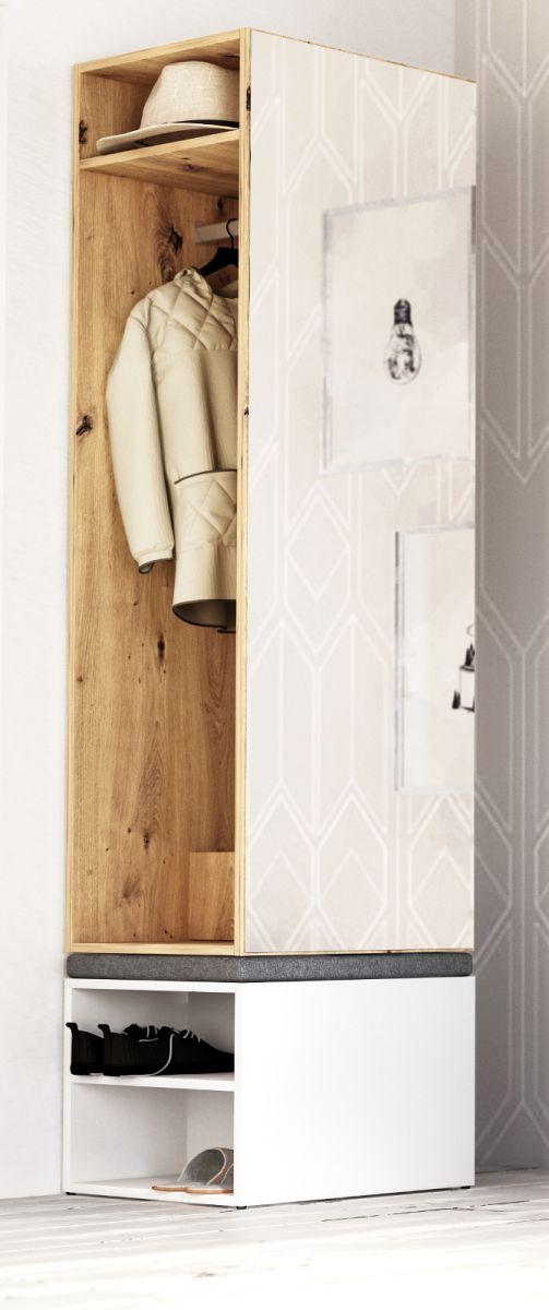Garderobe Set 2-tlg- Brighty in Artisan Eiche und weiss 50 x 190 cm