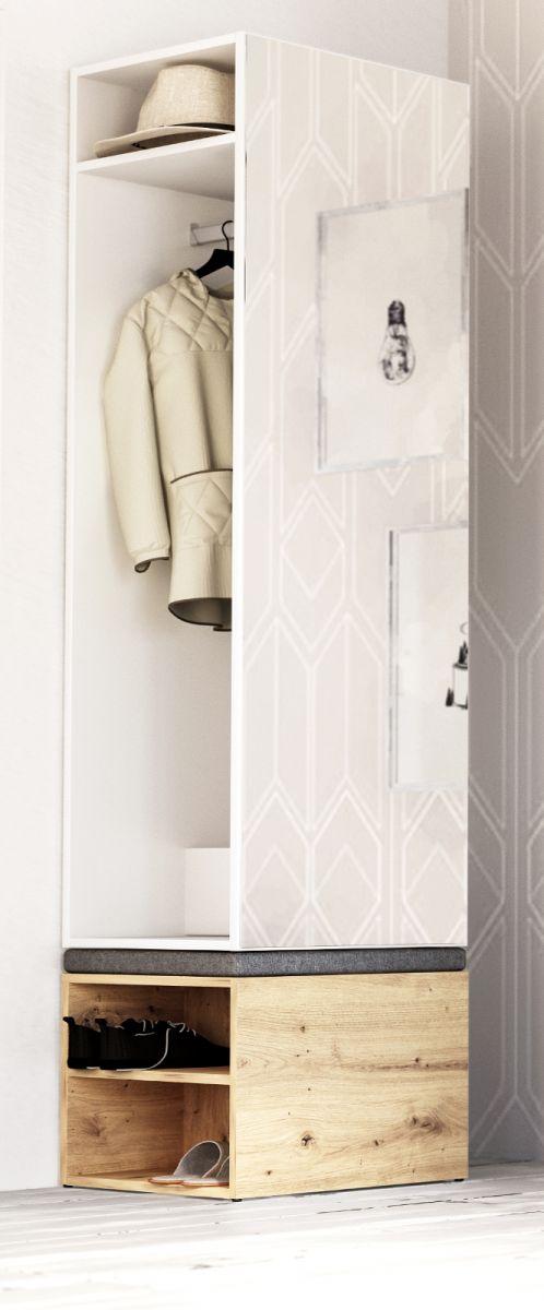 Garderobe Set 2-tlg- Brighty in weiss und Artisan Eiche 50 x 190 cm
