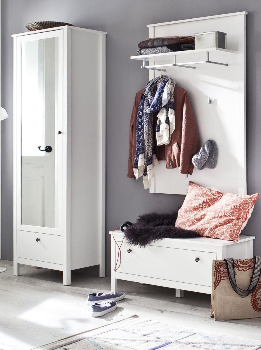 Garderobe Set Ole weiss 3-teilig 165 cm
