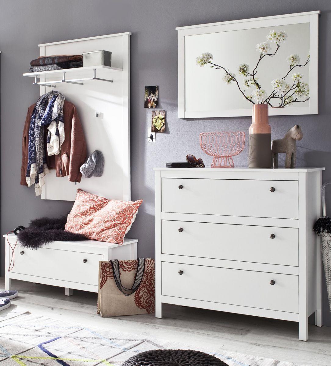 Garderobe Set Ole weiss 4-teilig 195 cm