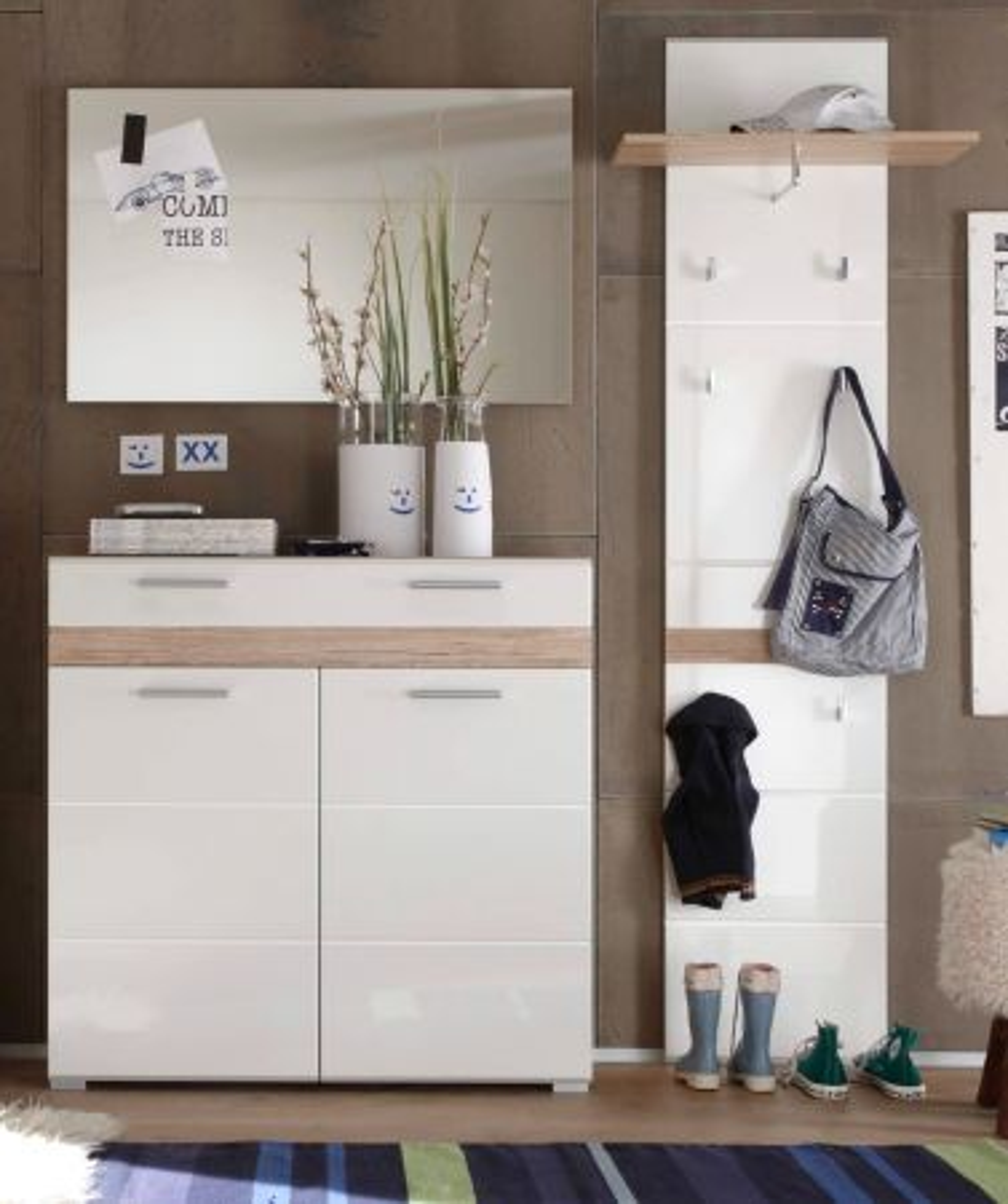 Garderobe SetOne in Hochglanz weiss und Eiche San Remo 3-tlg-