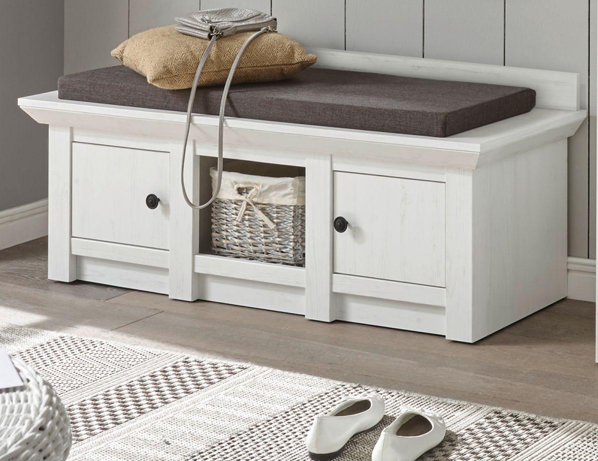 Garderobe Sitzbank und Schuhschrank Hooge in Pinie weiss 124 cm