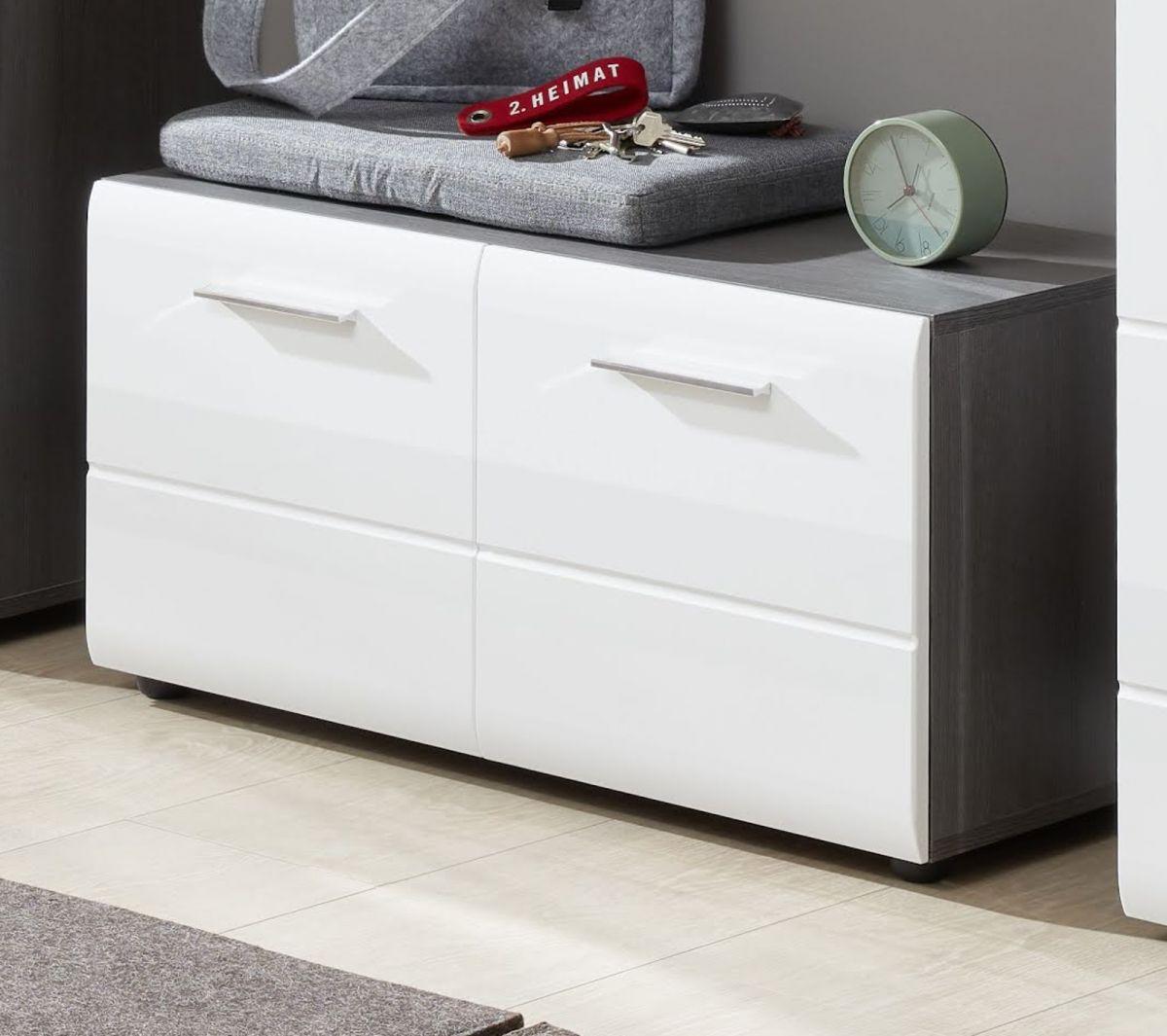 Garderobe Sitzbank und Schuhschrank Line Hochglanz weiss Sardegna grau 80 x 41 cm