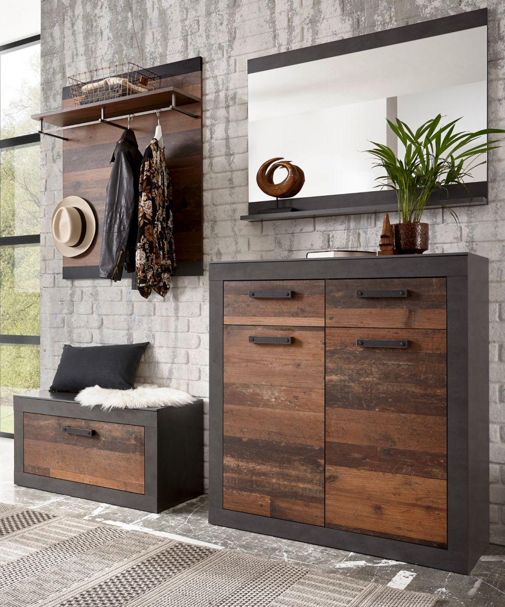 Garderobe Ward in Used Wood Shabby und Matera grau Set 4-teilig 192 x 200 cm