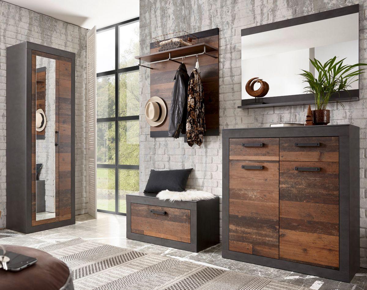 Garderobe Ward in Used Wood Shabby und Matera grau Set 5-teilig 277 x 201 cm