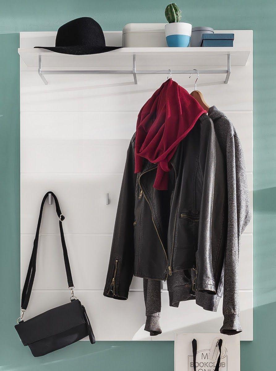 Garderoben Paneel Amanda weiss Hochglanz mit Hutablage und Kleiderstange
