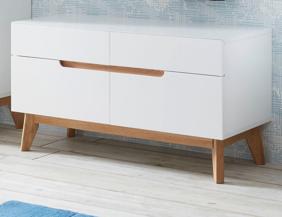 Garderobenbank Cervo matt weiss Lack und Asteiche 97 x 53 cm