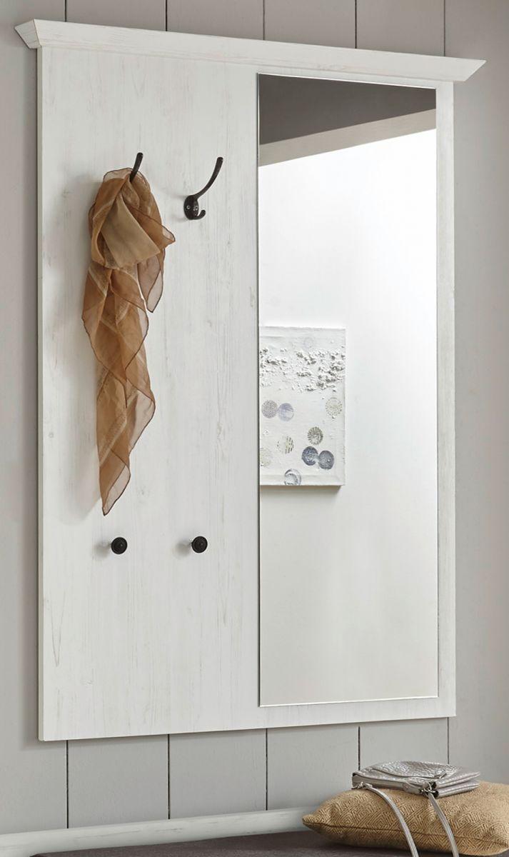 Garderobenpaneel Hooge in Pinie weiss mit Spiegel 105 x 140 cm