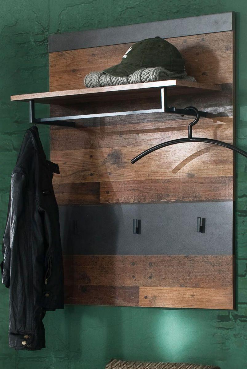 Garderobenpaneel Indy in Used Wood und Matera grau 80 cm
