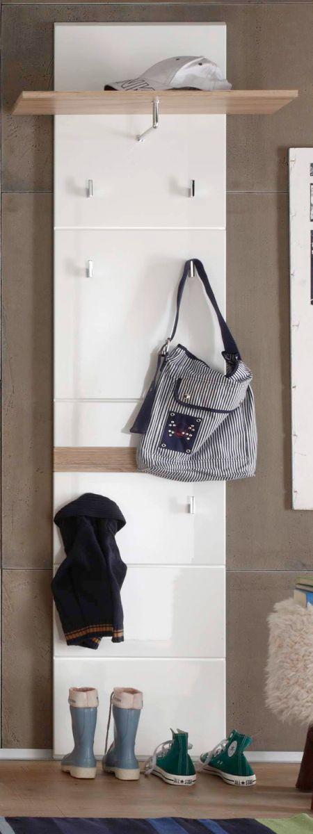 Garderobenpaneel SetOne in Hochglanz weiss und Eiche San Remo