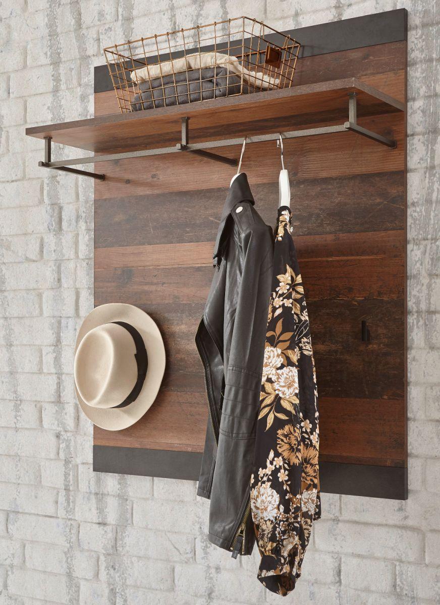 Garderobenpaneel Ward in Used Wood Shabby und Matera grau 80 x 100 cm