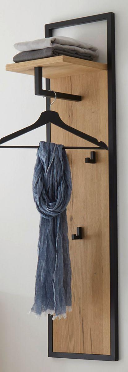 Garderobenpaneel Yorkshire in Eiche und schwarz 30 x 125 cm