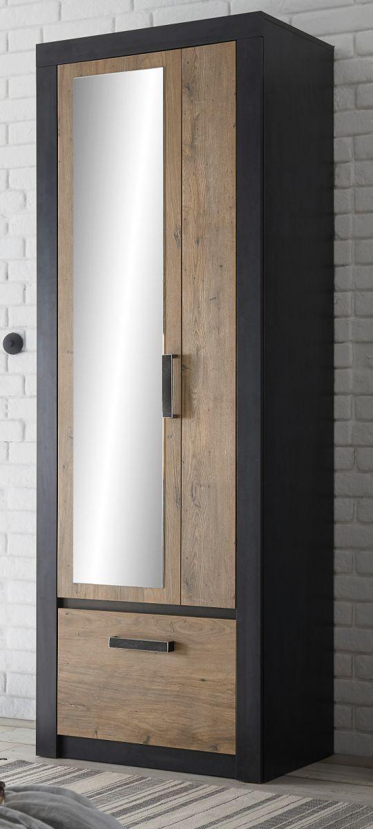 Garderobenschrank Beveren in Kastanie und Fresco grau Schuhschrank 65 x 200 cm