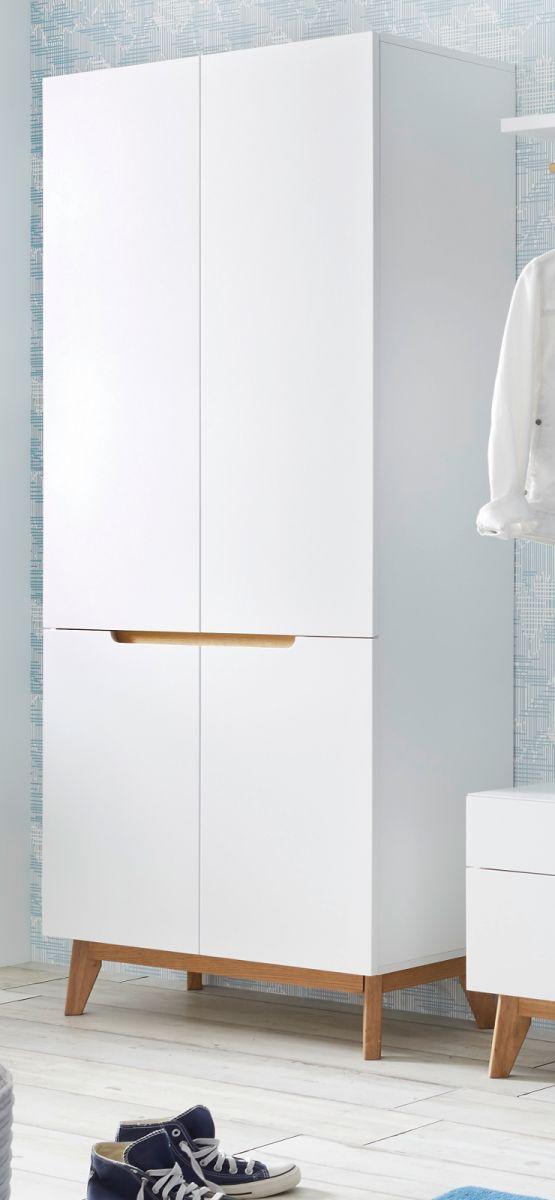 Garderobenschrank Cervo matt weiss Lack und Asteiche 85 x 196 cm
