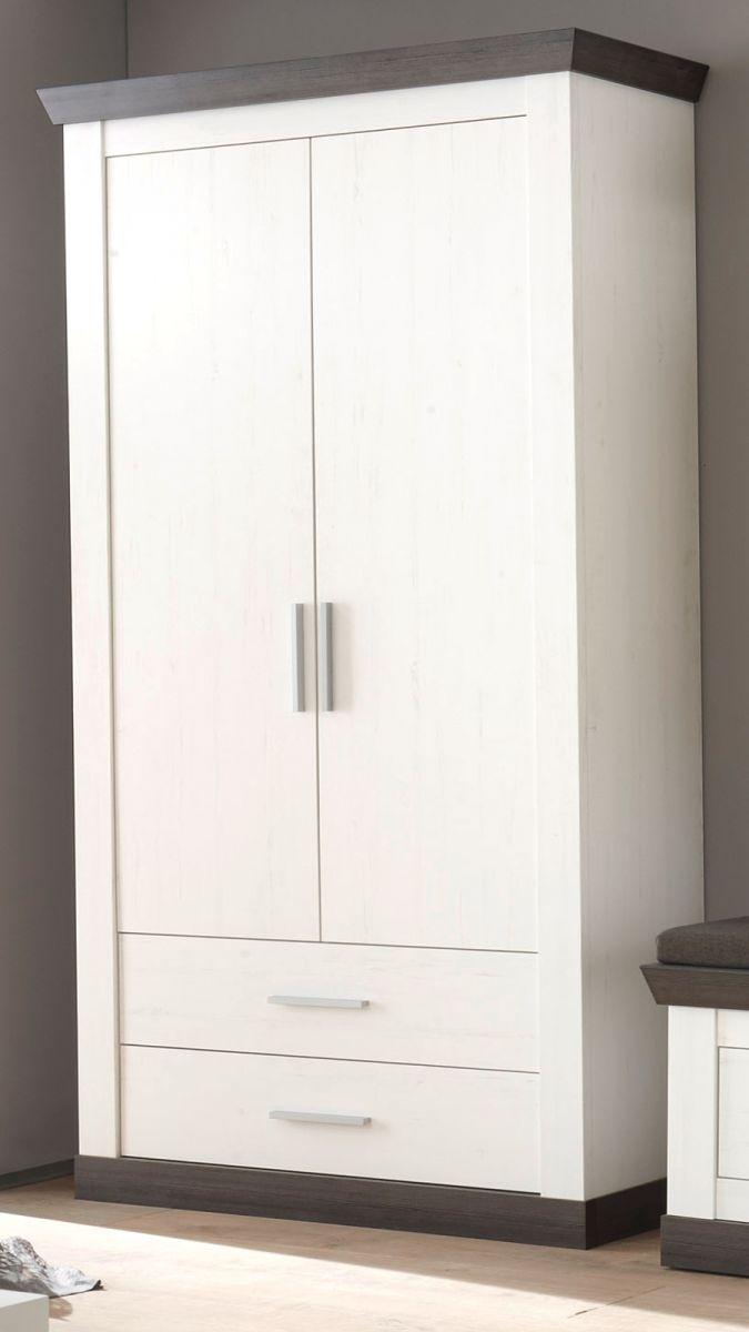 Garderobenschrank Corela in Pinie weiss und Wenge Landhaus Schuhschrank 107 x 201 cm