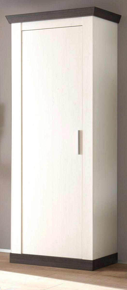 Garderobenschrank Corela in Pinie weiss und Wenge Landhaus Schuhschrank 73 x 201 cm