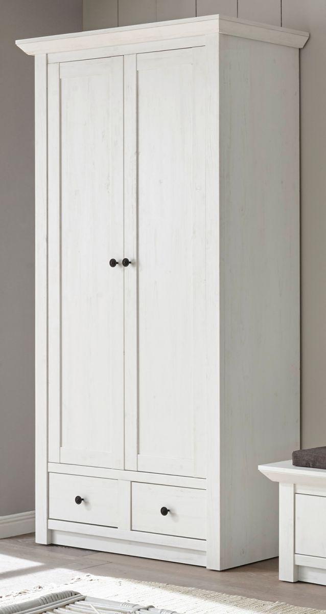Garderobenschrank Hooge in Pinie weiss Schuhschrank 105 x 206 cm