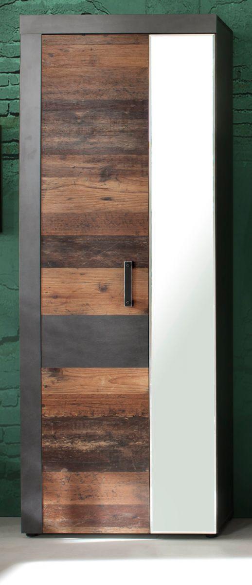 Garderobenschrank Indy in Used Wood und Matera grau 65 cm