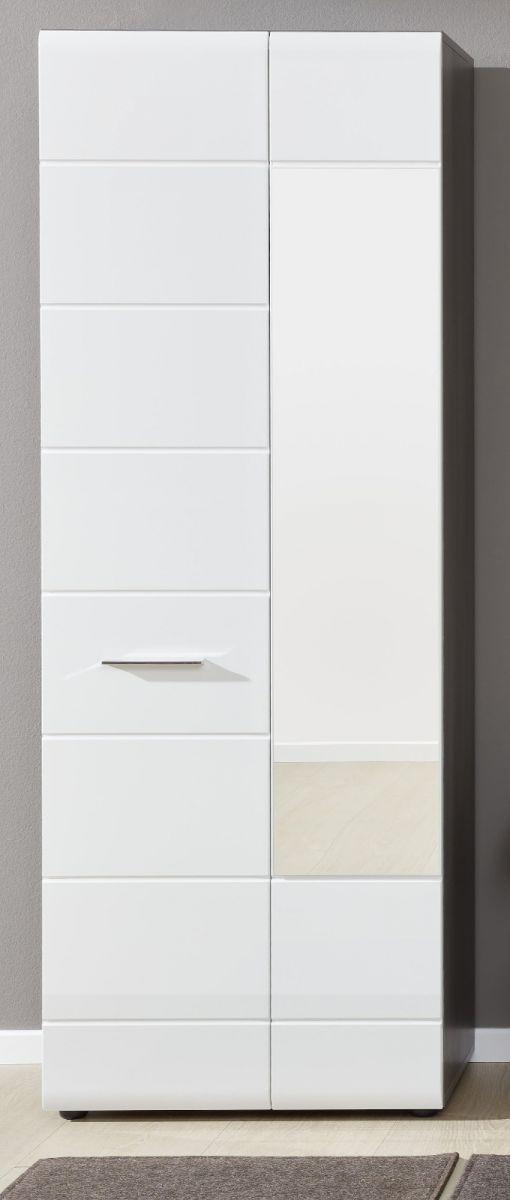 Garderobenschrank Line Hochglanz weiss Sardegna grau 60 x 191 cm