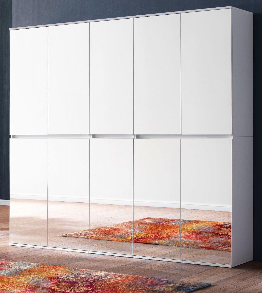 Garderobenschrank Mirror weiss 185 cm mit Spiegeltüren