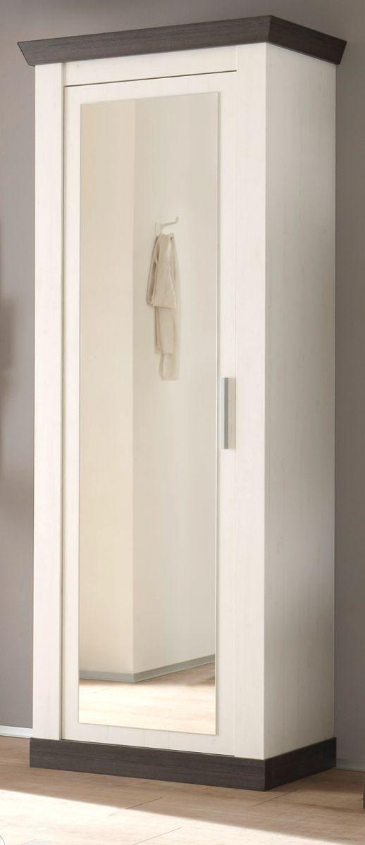 Garderobenschrank mit Spiegel Corela in Pinie weiss und Wenge Landhaus Schuhschrank 73 x 201 cm