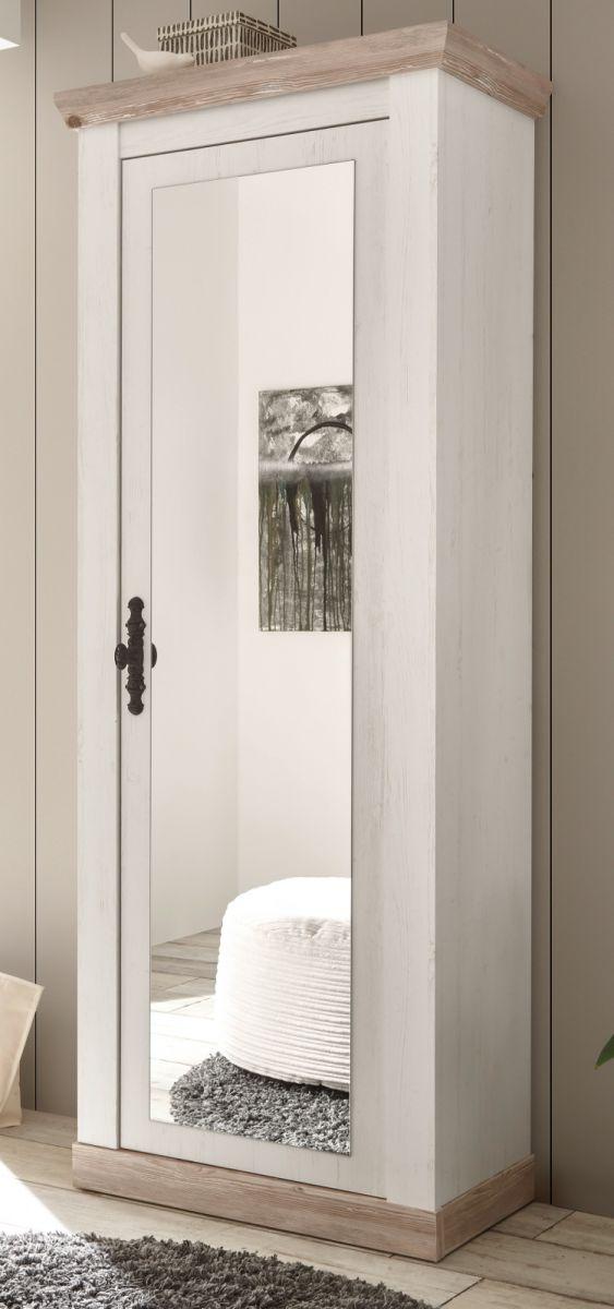 Garderobenschrank mit Spiegel Rovola in Pinie weiss Schuhschrank 73 x 201 cm