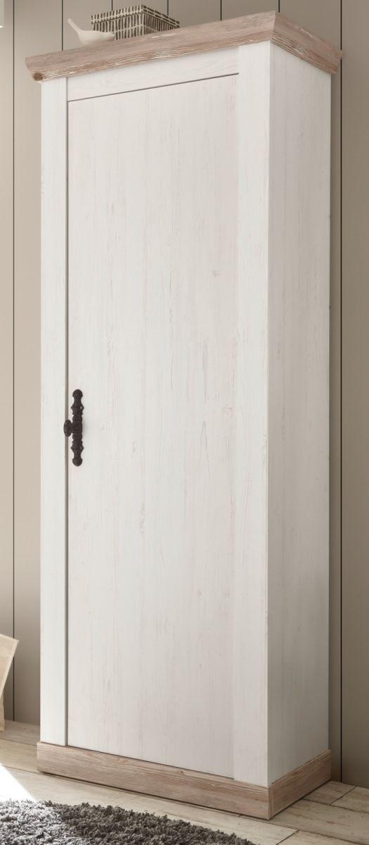 Garderobenschrank Rovola in Pinie weiss Schuhschrank 73 x 201 cm
