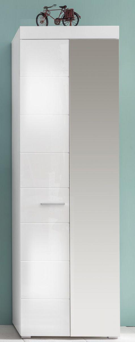 Garderobenschrank Schuhschrank weiss Hochglanz 62 x 195 cm Amanda