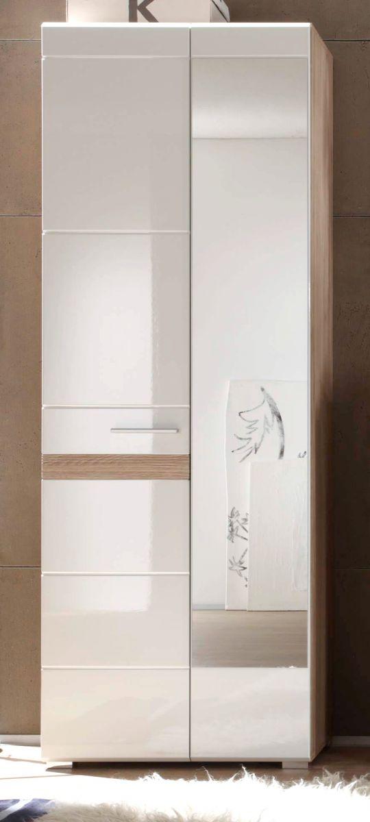Garderobenschrank SetOne in Hochglanz weiss und Eiche San Remo