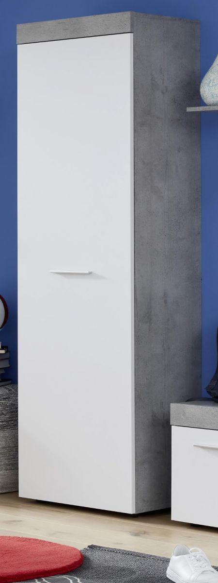 Garderobenschrank Street weiss und Beton grau 54 x 196 cm