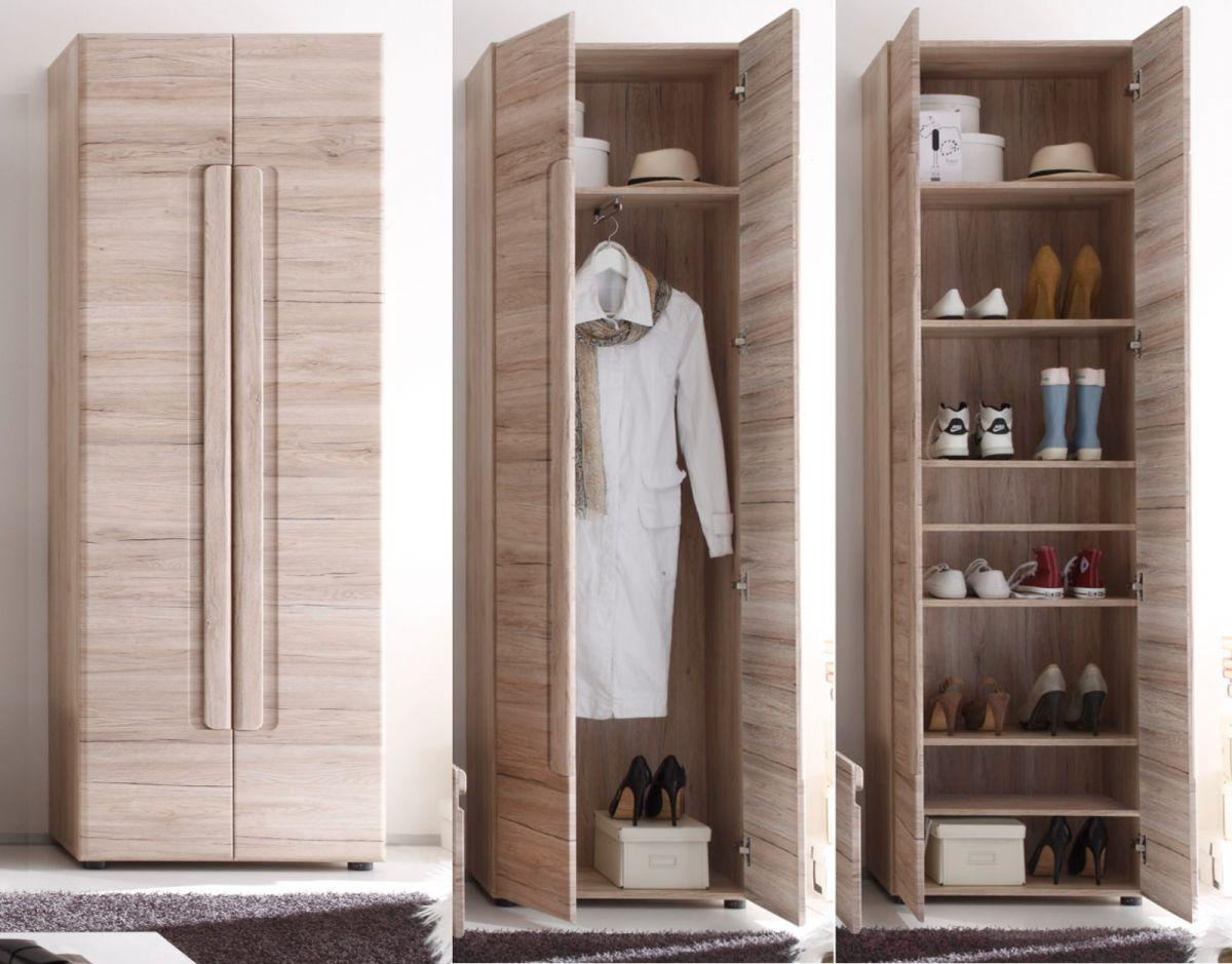 Garderobenschrank und Schuhschrank Malea Eiche San Remo 60 x 191 cm