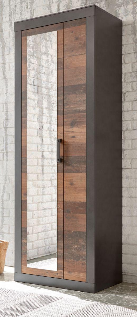 Garderobenschrank Ward in Used Wood Shabby und Matera grau Schuhschrank 65 x 201 cm